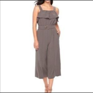 NWT- XL Apt 9 Taupe Gray belted jumpsuit w/ ruffle